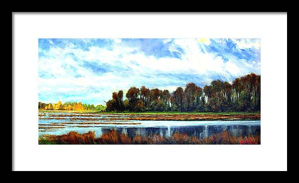 Landscapes Framed Print featuring the painting Ridgefield Refuge Early Fall by Jim Gola