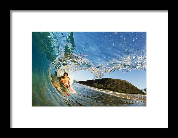 Action Framed Print featuring the photograph Riding Barrel At Makena by MakenaStockMedia - Printscapes