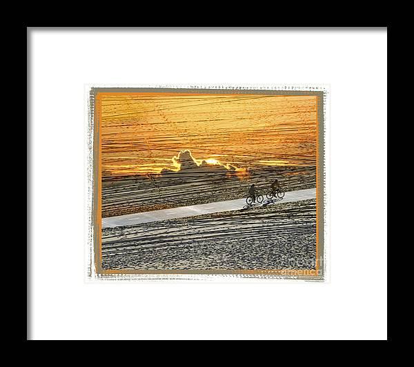 Beach Framed Print featuring the digital art Riding off into the Sunset by Chuck Brittenham