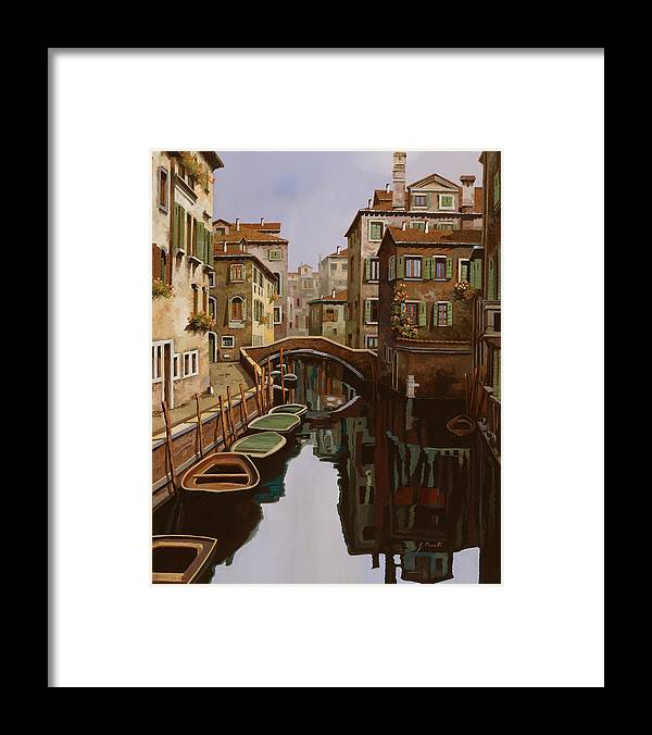 Venice Framed Print featuring the painting Riflesso Scuro by Guido Borelli