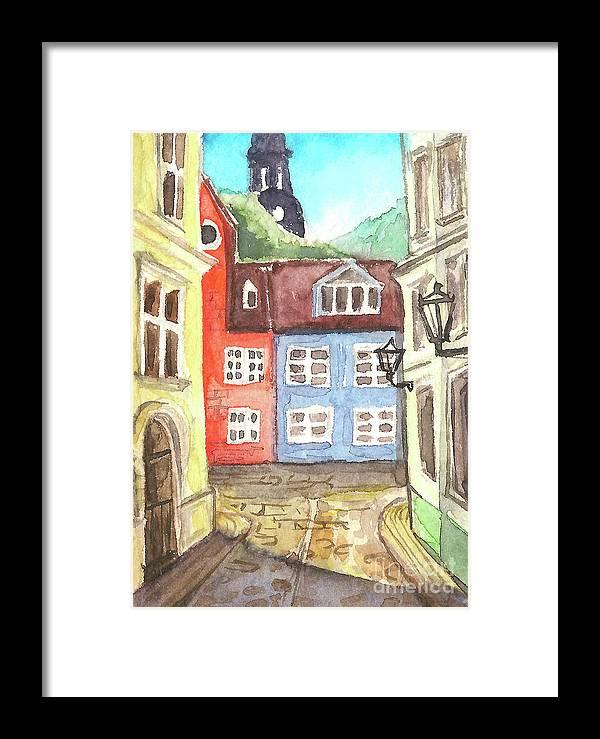 Riga Framed Print featuring the painting Riga by Yana Sadykova