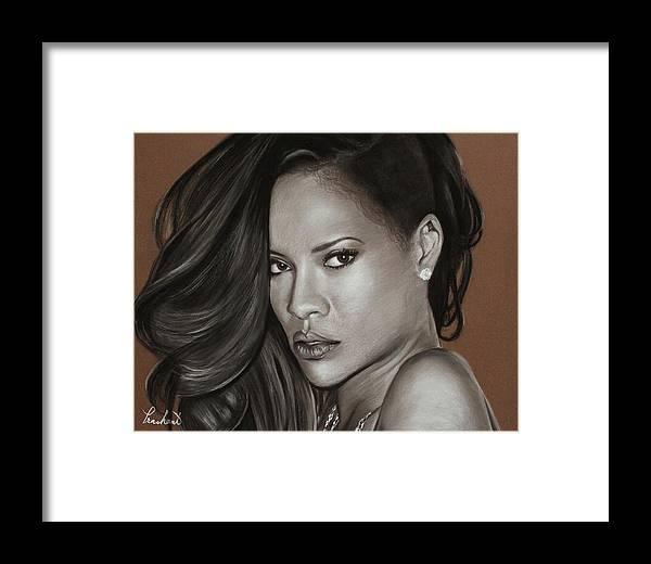 Rihanna Framed Print featuring the drawing Rihanna Portrait by Prashant Shah