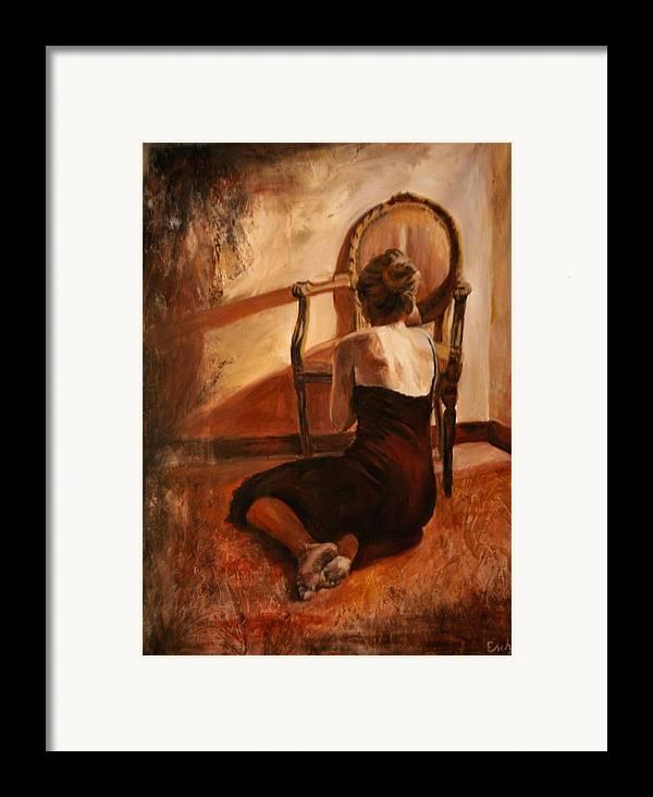 Woman Framed Print featuring the painting Rilassare by Escha Van den bogerd