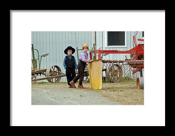 Amish Framed Print featuring the photograph Rimmed Hat Vs. Rimless Hat by Joyce Huhra
