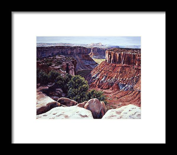 Landscape Framed Print featuring the painting Rimrocked No Way Down by Page Holland
