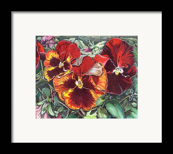 Florals Framed Print featuring the painting Ring Of Fire by Joyce Hutchinson