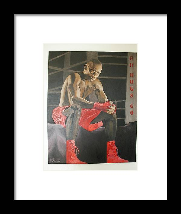 Portrait Framed Print featuring the painting Ringside With Jermain by Angelo Thomas