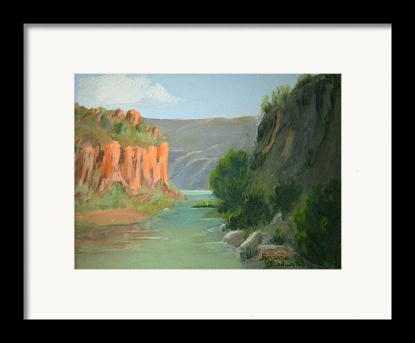 Landscape Framed Print featuring the painting Rio Grande Canyon by Roxanne Rodwell