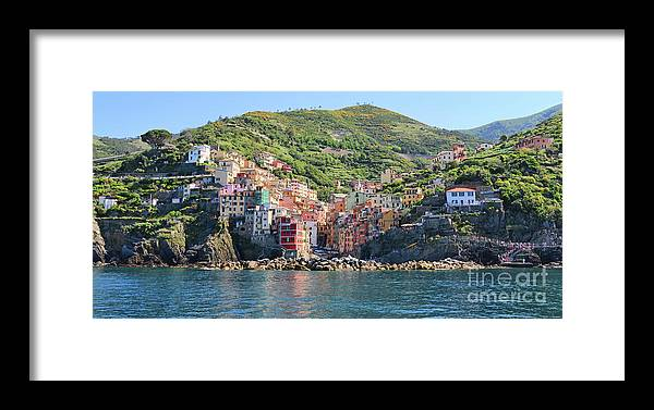 Cinque Terre Framed Print featuring the photograph Riomaggiore 0582 Crop by Jack Schultz