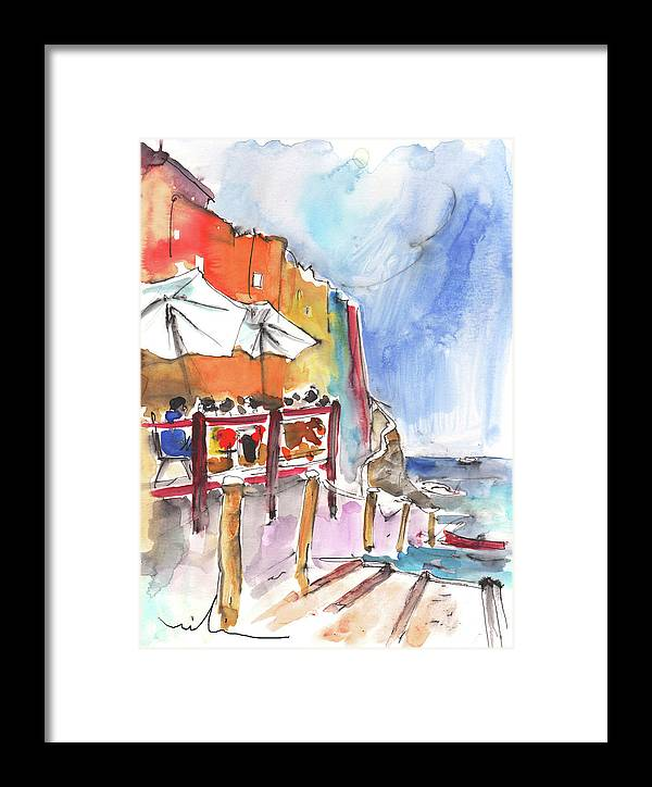 Italy Framed Print featuring the painting Riomaggiore In Italy 03 by Miki De Goodaboom