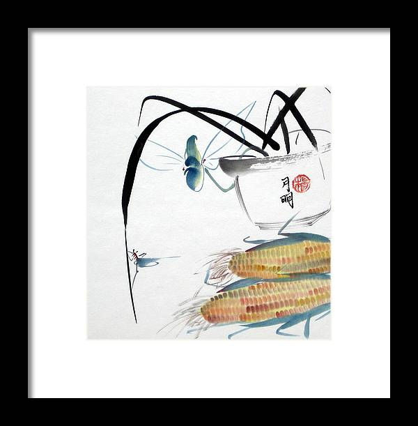Corn Framed Print featuring the painting Ripen Corns by Ming Yeung