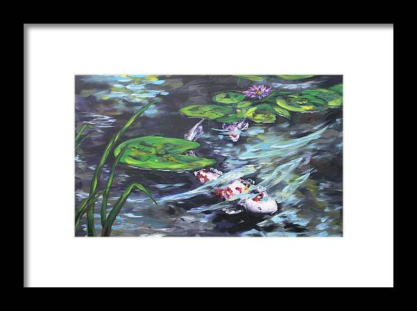 Koi Fish Water Waterscape Lily Pad Pond Reeds Nature Framed Print featuring the painting Ripple Rouser by Alan Scott Craig