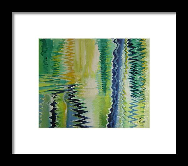 Abstract Framed Print featuring the painting Ripples No.2 by Lian Zhen