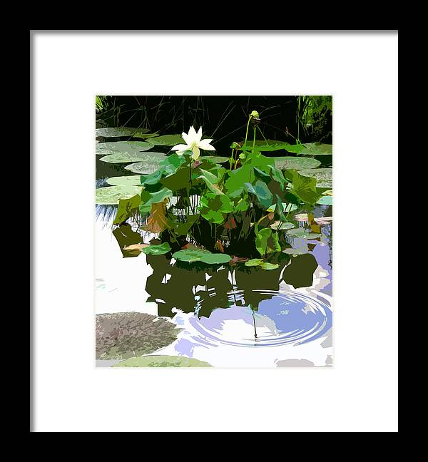 Lotus Framed Print featuring the photograph Ripples on the Lotus Pond by John Lautermilch