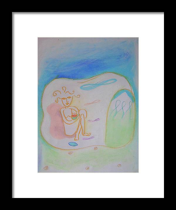 Resting Framed Print featuring the pastel Rishikesh by Jelila