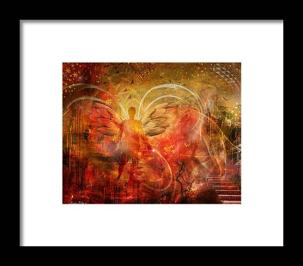 Fantasy Framed Print featuring the digital art Rising From The Ashes by Laura Lipke