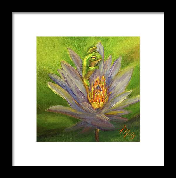 Water Lily Framed Print featuring the painting Rising From The Ashes by Lesley Mills