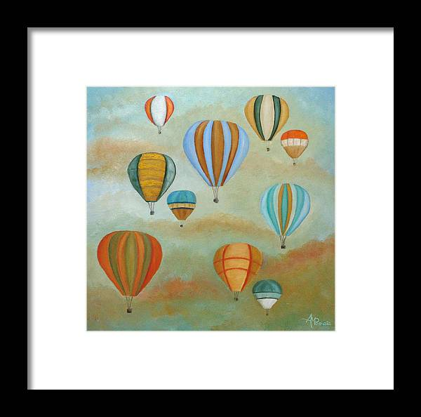 Balloons Framed Print featuring the painting Rising High by Angeles M Pomata