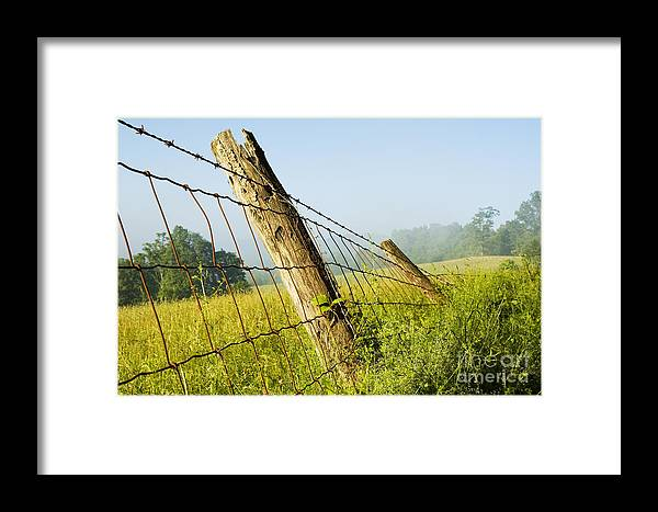 Misty Morning Framed Print featuring the photograph Rising Mist With Falling Fence by Thomas R Fletcher