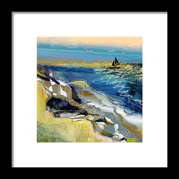 Sea Framed Print featuring the painting Rising Wind by Anne Weirich