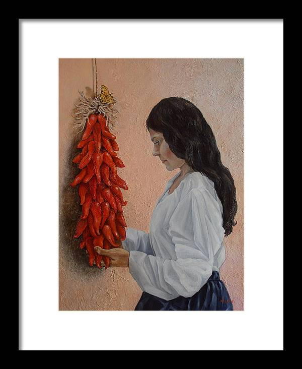 Chiles Framed Print featuring the painting Ristra by Ixchel Amor