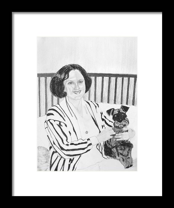 Rita Lady Dog Schnauzer Framed Print featuring the drawing Rita by Cathy Jourdan