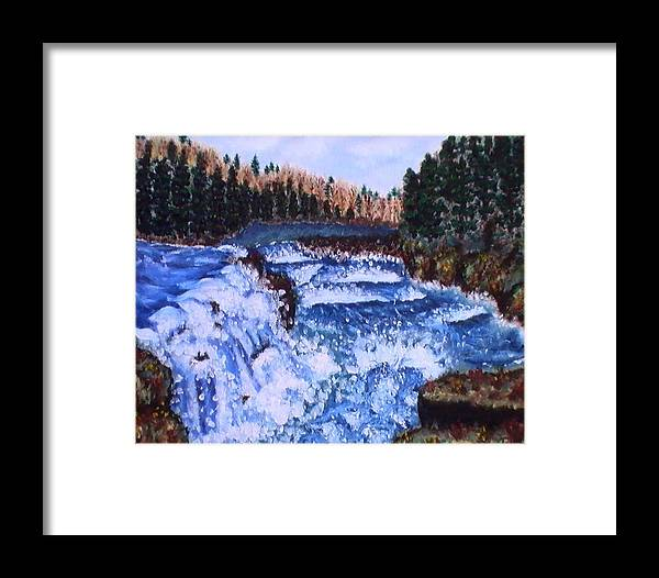Pine Trees Framed Print featuring the painting River Falls by Tanna Lee M Wells