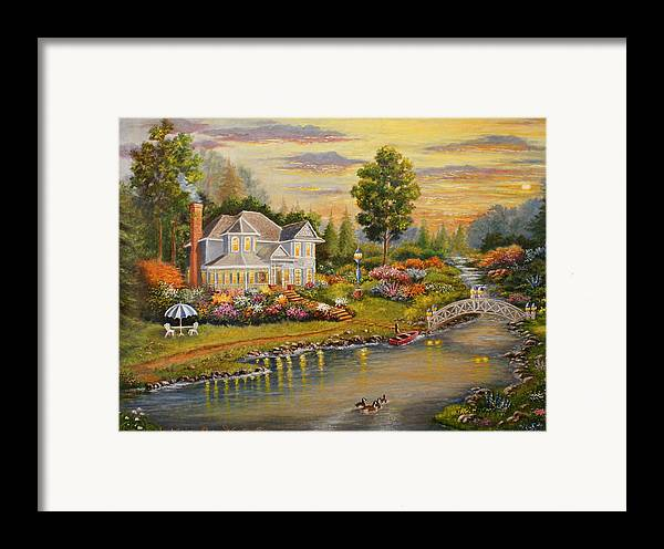 Landscape Framed Print featuring the painting River Home by Lucille Owen-Huston