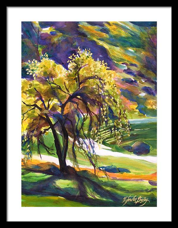 Lone Oak Trees Framed Print featuring the painting River Island Lone Oak by Therese Fowler-Bailey