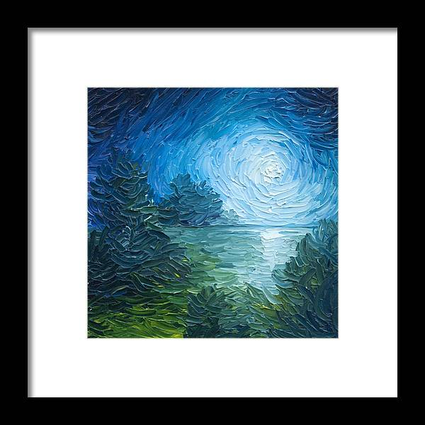 Nature; Lake; Sunset; Sunrise; Serene; Forest; Trees; Water; Ripples; Clearing; Lagoon; James Christopher Hill; Jameshillgallery.com; Foliage; Sky; Realism; Oils; Moon; Moonlight; Reflection; Blue; Lapis Framed Print featuring the painting River Moon by James Christopher Hill