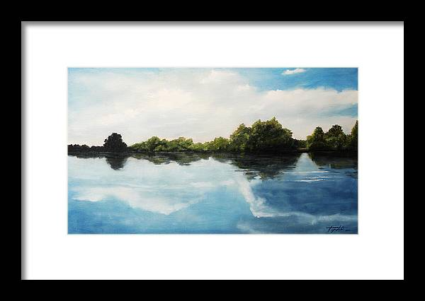 Landscape Framed Print featuring the painting River of Dreams by Darko Topalski