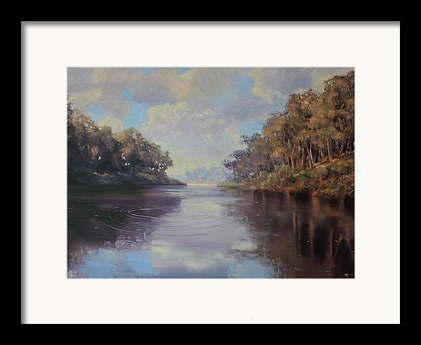 Oil On Canvas Framed Print featuring the painting River Peace by Michael Vires