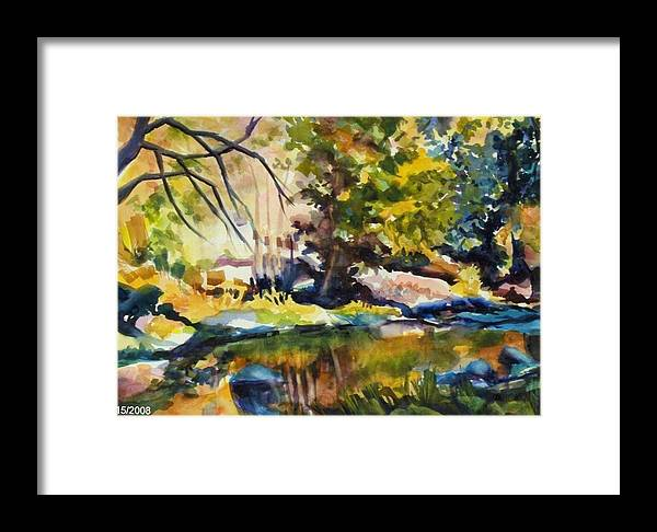 Yosemite National Park Framed Print featuring the painting River Reflections In Yosemite Autumn by Therese Fowler-Bailey