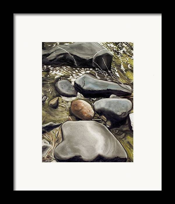 River Rock Framed Print featuring the painting River Rock Formations by Brenda Williams