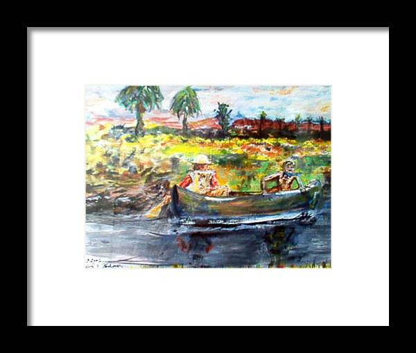 Lovers Canoing Florida River In Winter Framed Print featuring the painting River Romance by Alfred P Verhoeven