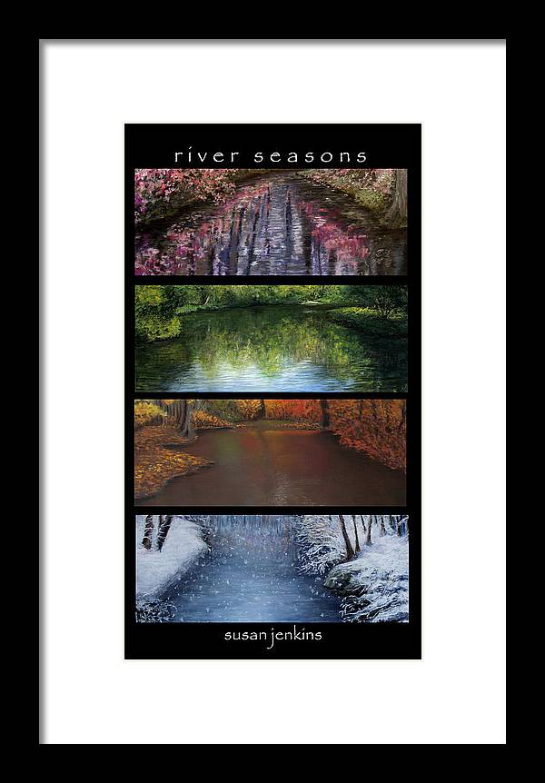 Landscape Framed Print featuring the pastel River Seasons by Susan Jenkins