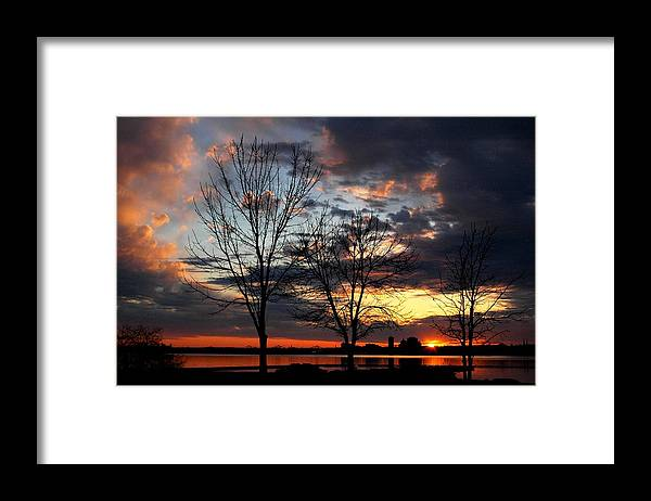 Peoria Framed Print featuring the photograph River Sunset in Early Spring by Helen ONeal