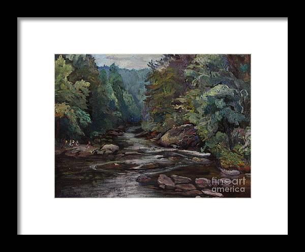 Oil Painting Framed Print featuring the painting River Valley Visit by Maris Salmins