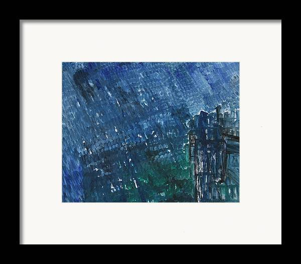 Framed Print featuring the painting River Water Rains by Prakash Bal Joshi