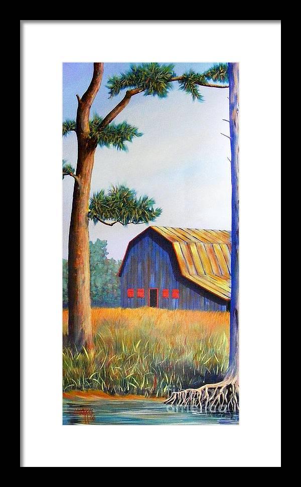 Barn Framed Print featuring the painting Riverbank Barn by Hugh Harris