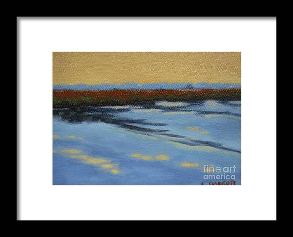 Landscape Framed Print featuring the painting River's Edge by Laura Roberts