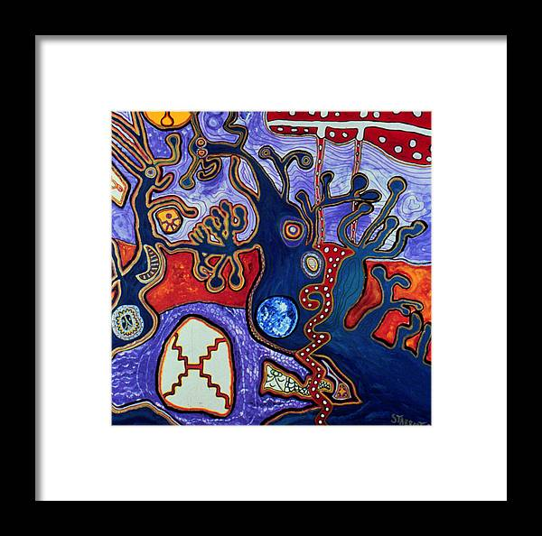 Abstract Visionary Art Arcturus Framed Print featuring the painting Rivers Of Arcturian Emination by Starroot Starroot