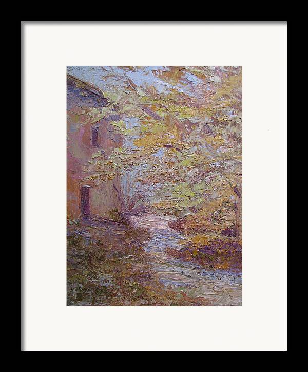 French Farmhouse Framed Print featuring the painting Riverside Colmar France by Belinda Consten