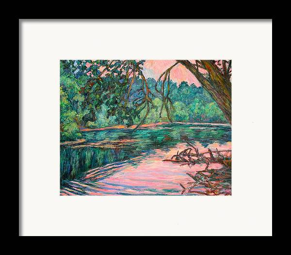 Riverview Park Framed Print featuring the painting Riverview At Dusk by Kendall Kessler