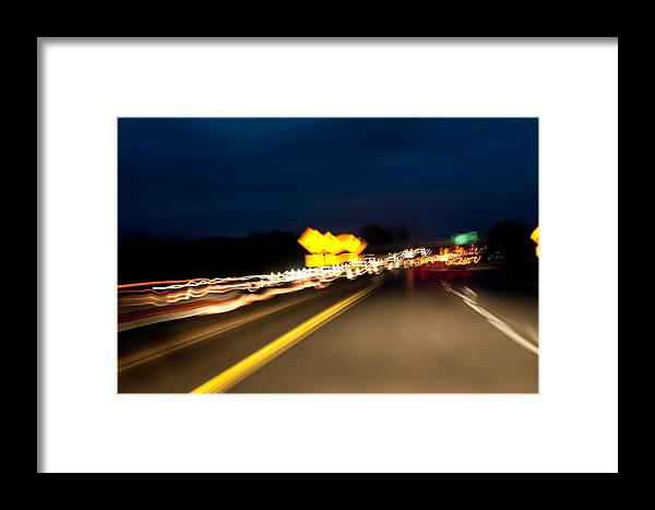 Freeway Framed Print featuring the photograph Road At Night 1 by Steven Dunn