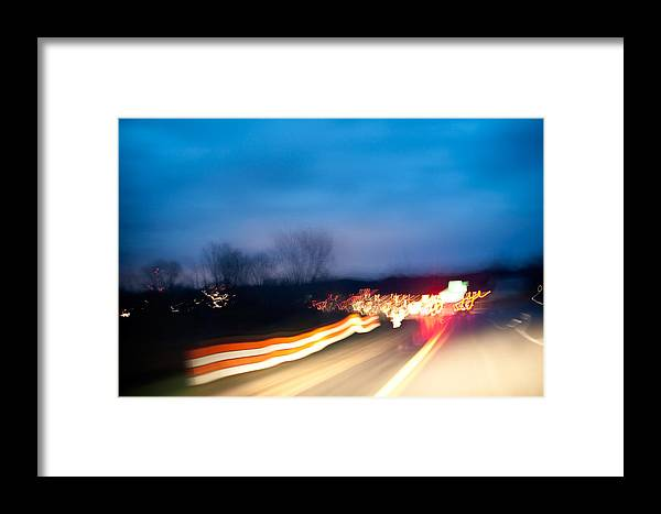Freeway Framed Print featuring the photograph Road At Night 3 by Steven Dunn