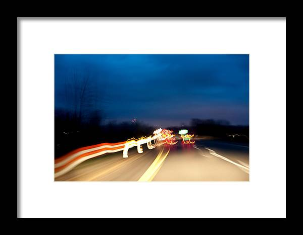 Framed Print featuring the photograph Road At Night 4 by Steven Dunn