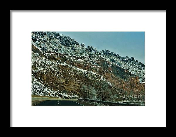 Snow Framed Print featuring the photograph Road Cut by CL Redding