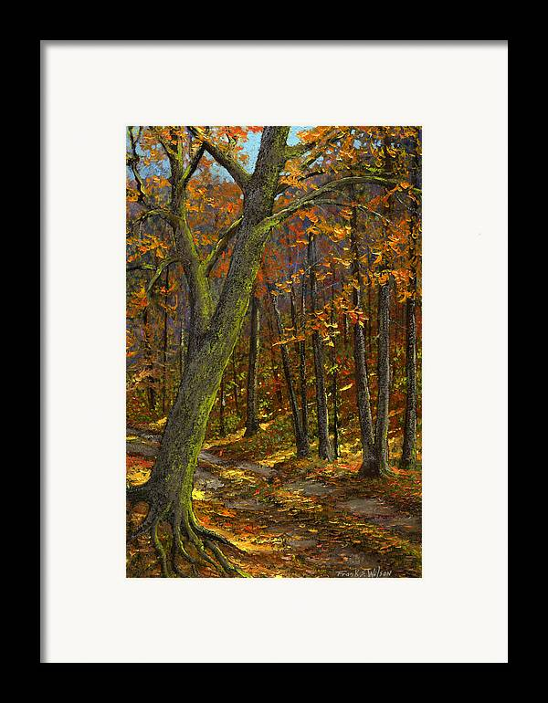Landscape Framed Print featuring the painting Road In The Woods by Frank Wilson
