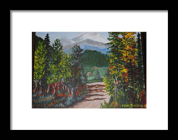 Landscape Framed Print featuring the painting Road Into The Alps Germany by Mona McClave Dunson